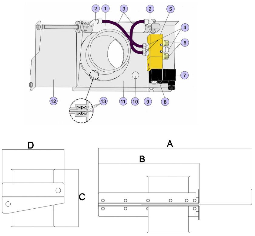 automatic sliding damper technical drawing